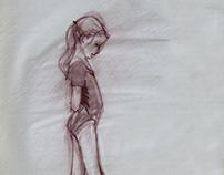 Figure Drawing, girl in leotard