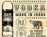 PARTY ANIMAL VODKA WESTERN POSTER