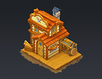 Hand Painted low poly buildings