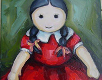 """the doll""  original oil painting on canvas 30 x 40 cm"