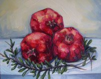 """Pomegranates"" oil painting on canvas. size: 30 x 30 cm"