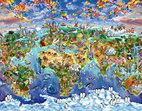 World Wonders Illustrated map