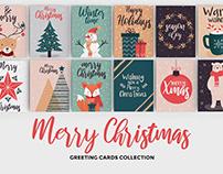 Set of flat modern hand drawn Christmas greeting cards