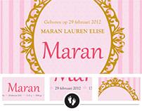 Geboortekaart Maran