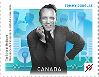 Tommy Douglas Stamp Background Illustration