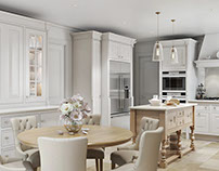 3D Architectural Rendering of a Kitchen in Shades of Wh