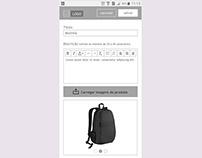 Protótipo mobile para página de cadastro de produtos