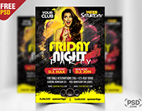 Friday Night Party Flyer Free PSD