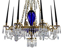 A Neo-Classical Baltic Blue Glass Chandelier