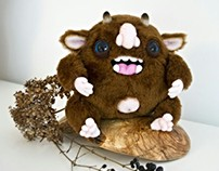 Happy Monster, fantasy creature, OOAK soft art toy