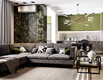 Visualisation of studio apartment interior