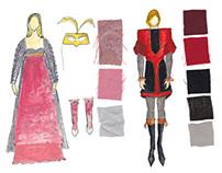 Costume design sketches for Romeo & Juliet