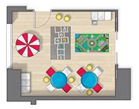 Floor plan 2D rendering (zona común residencial)