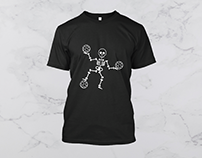 skeleton football player t shirt