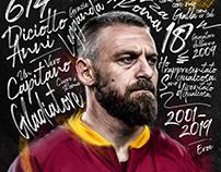 Daniele DE ROSSI Illustrated Roma Tribute Poster