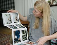 Handmade linen photo albums.