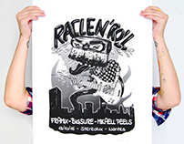 Serigraphie rock poster concert Racle N' roll