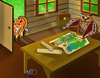 """Illustrations to the story """"Adventures"""" of the Wise Owl"""