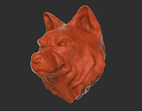 Growling Wolf /// umbrella handle digital sculpting