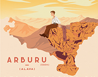 Arburu - Travel Poster of Basque Country mountains