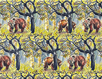 """Fall 2015 Textile Design """"Bears in Woods"""""""