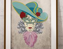 Ilustración  máscaras venecianas