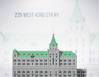 229 WEST 43RD STREET NYC - vector-graphic illustration