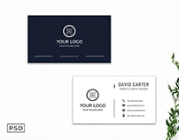 Free Sober Blue & White Business Card Template