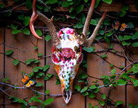 Coping // Deer Skull Collaged Sculpture