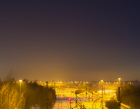 night view over munich northern freight terminal