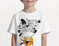 Orange Doodles T-shirt Design