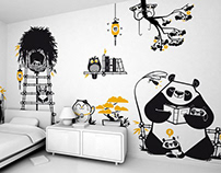 good night panda :: children's wall decals