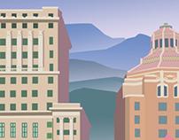 Asheville, North Carolina Travel Poster.