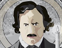 Edgar Allan Poe Illustration for writers-line