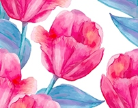 Floral Watercolor Seamless Patterns and Bouquets