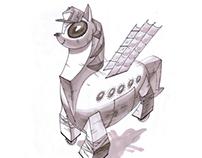 Trojan pony. Sketching.