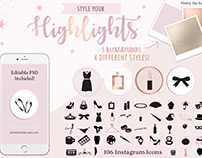 Rose Gold Marble Instagram Story Icons