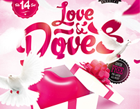 Love & Doves Party Flyer, PSD Template