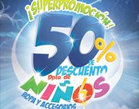 ¡Superpromoción! 50% de Descuento en el Dpto. de Niños