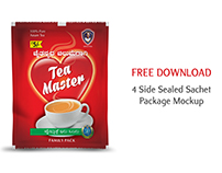 Free Mockup - 4 Side Sealed Sachet Package.