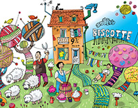 "illustrations for hobby shop ""Biscotte Yarns"""