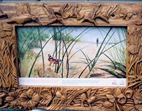 Ynyslas Interpretative Carved Green Oak Frame Panels