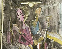 Girls at Bar,Fashion Illustration by Anil Nair