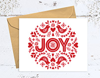 Joy Greeting Card - Hand Lettered & Illustrated