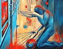 belonging- train station-travel-oil paint