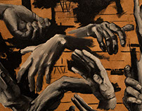 Begging Hands 18 x 32 in acrylic on canvas