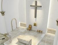 Diseño interior y render de altar para iglesia catolica