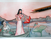 Lotus lake, watercolor illustration