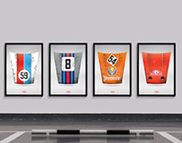 Porsche 911 hood FAMOUS LIVERIES - posters for CARBONE