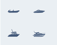 Motorboat. Icon set.